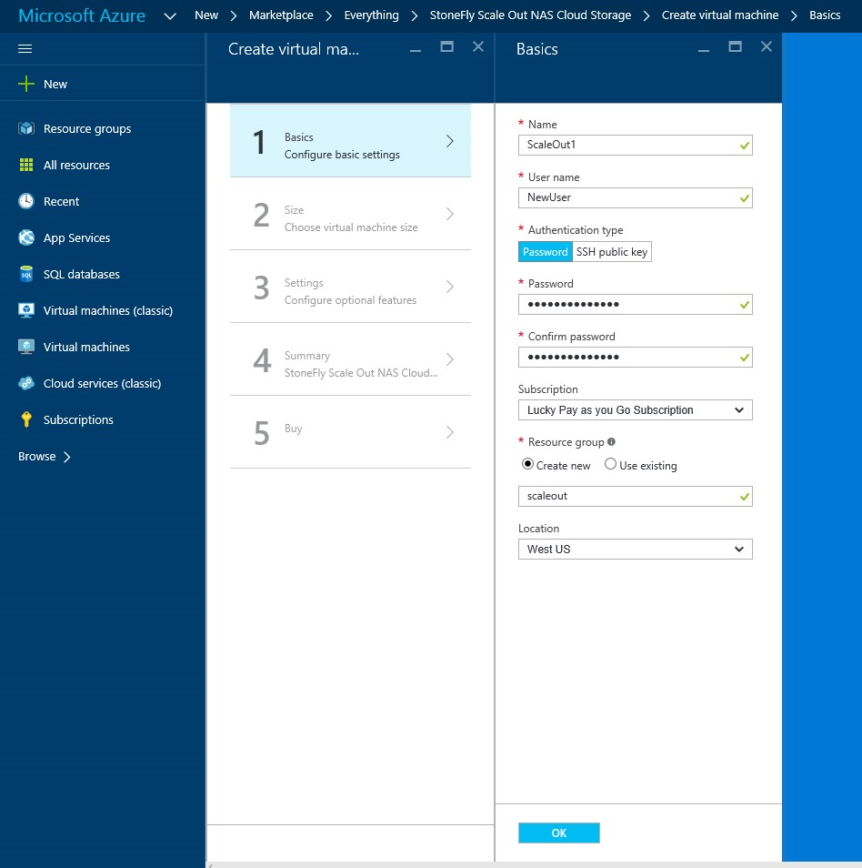 How to setup StoneFly Scale out NAS VMs in Microsoft Azure portal?