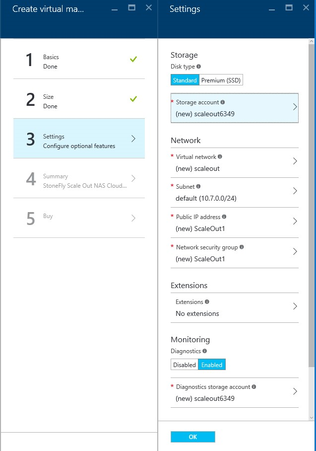 How to setup StoneFly Scale out NAS VMs in Microsoft Azure portal? 6