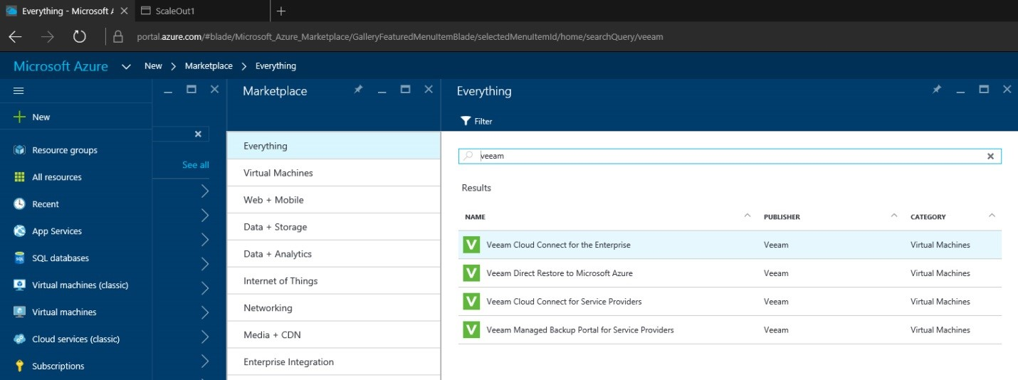 How to setup Veeam Cloud Connect for the Enterprise Virtual Machine in Microsoft Azure Portal 1