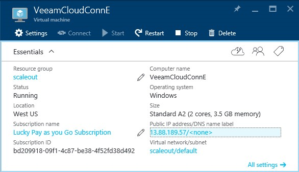 How to configure Veeam cloud connect for the Enterprise VM in Azure Portal? 8