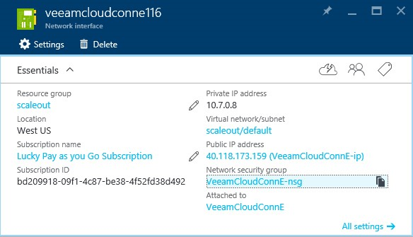 How to configure Veeam cloud connect for the Enterprise VM in Azure Portal? 3