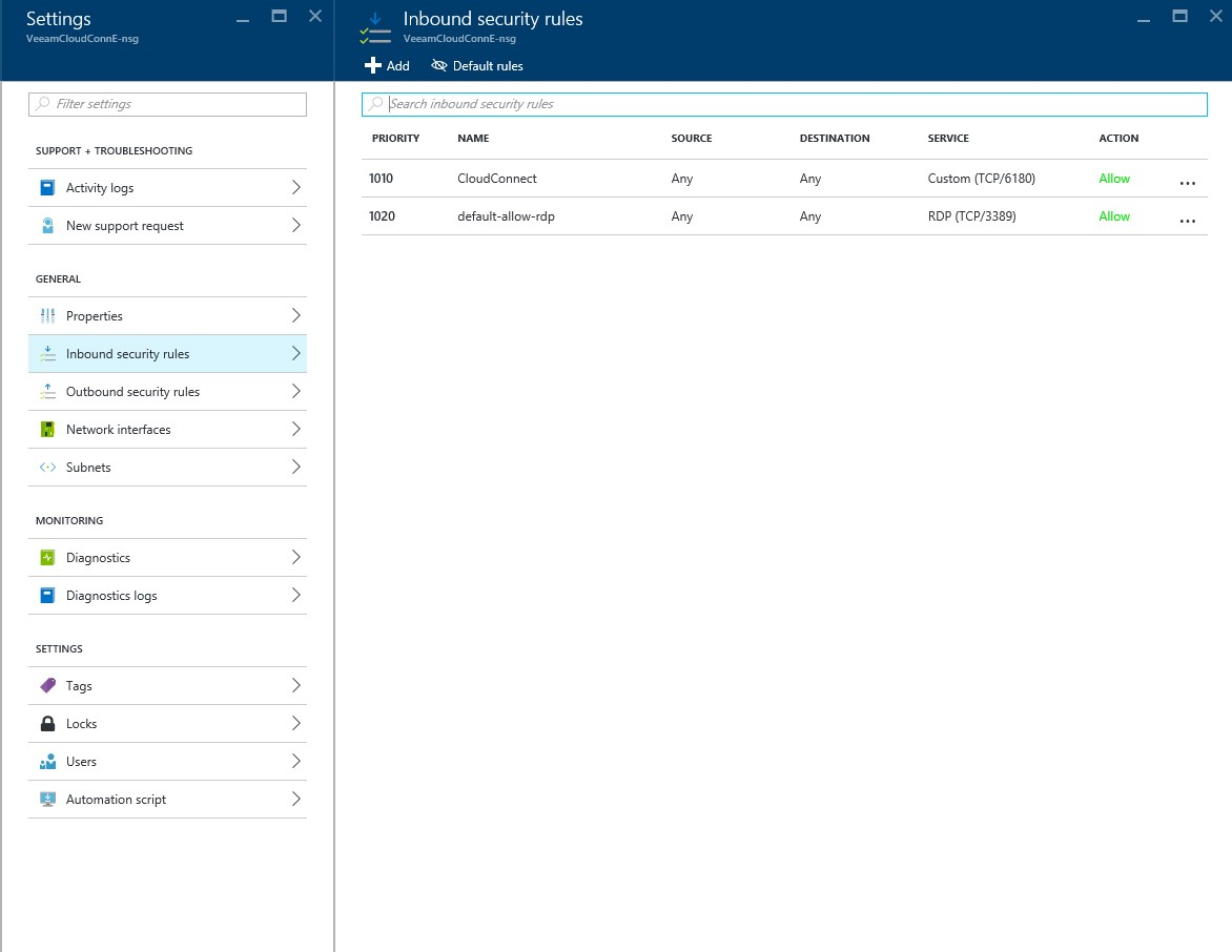 How to configure Veeam cloud connect for the Enterprise VM in Azure Portal? 5