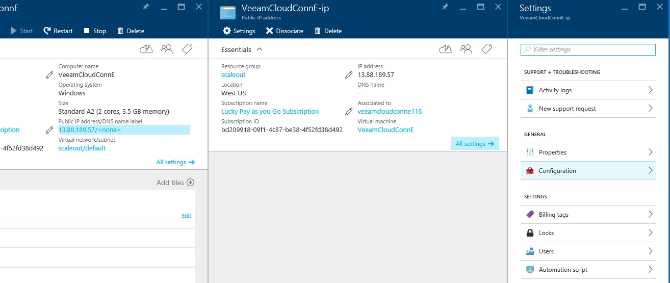 How to configure Veeam cloud connect for the Enterprise VM in Azure Portal? 9