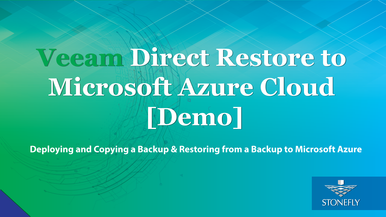 Veeam direct restore to Microsoft Azure Cloud
